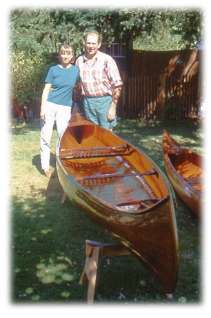 Happy owners of restored Willits canoe