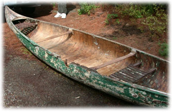 Beat up old Willits canoe